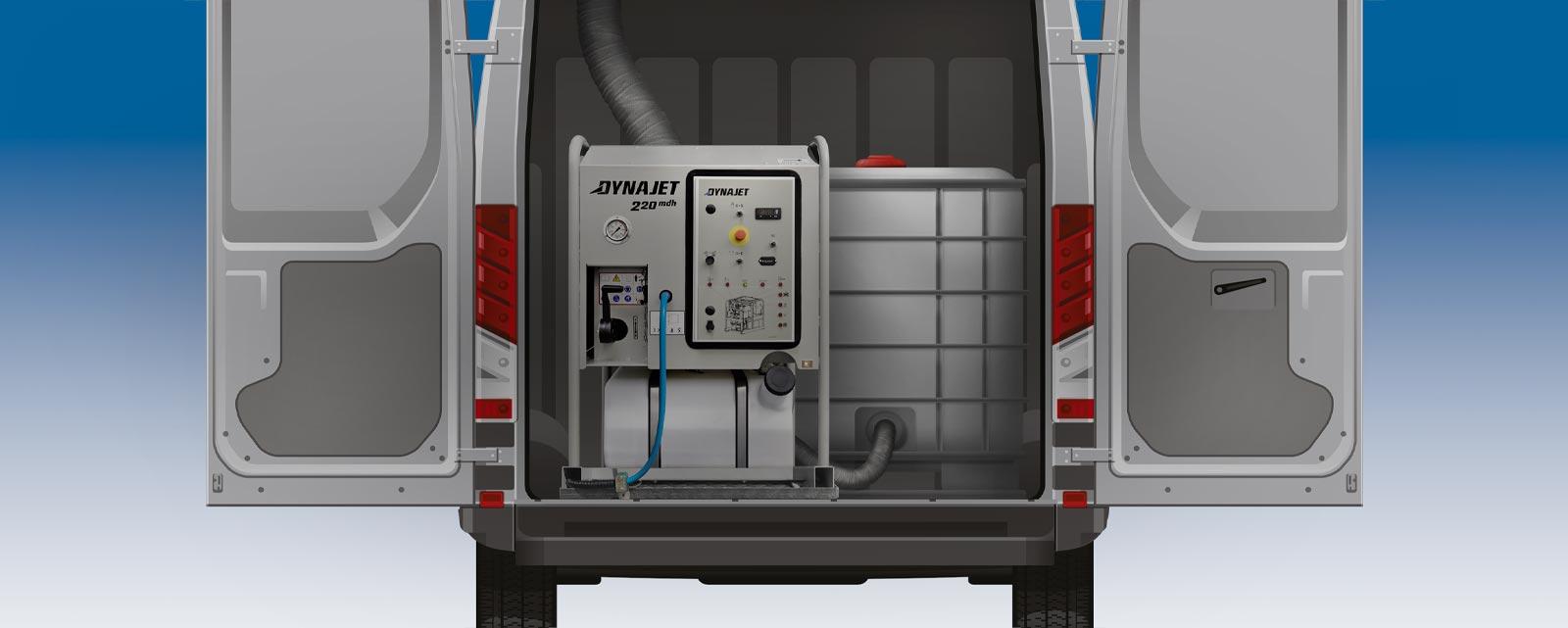 Die DYNAJET Skids und Einbaumodule mit einem Arbeitsdruck von 220 bis 1000 bar und den optional zusätzlichen Heißwasser-Erzeugern sind klein und kompakt.