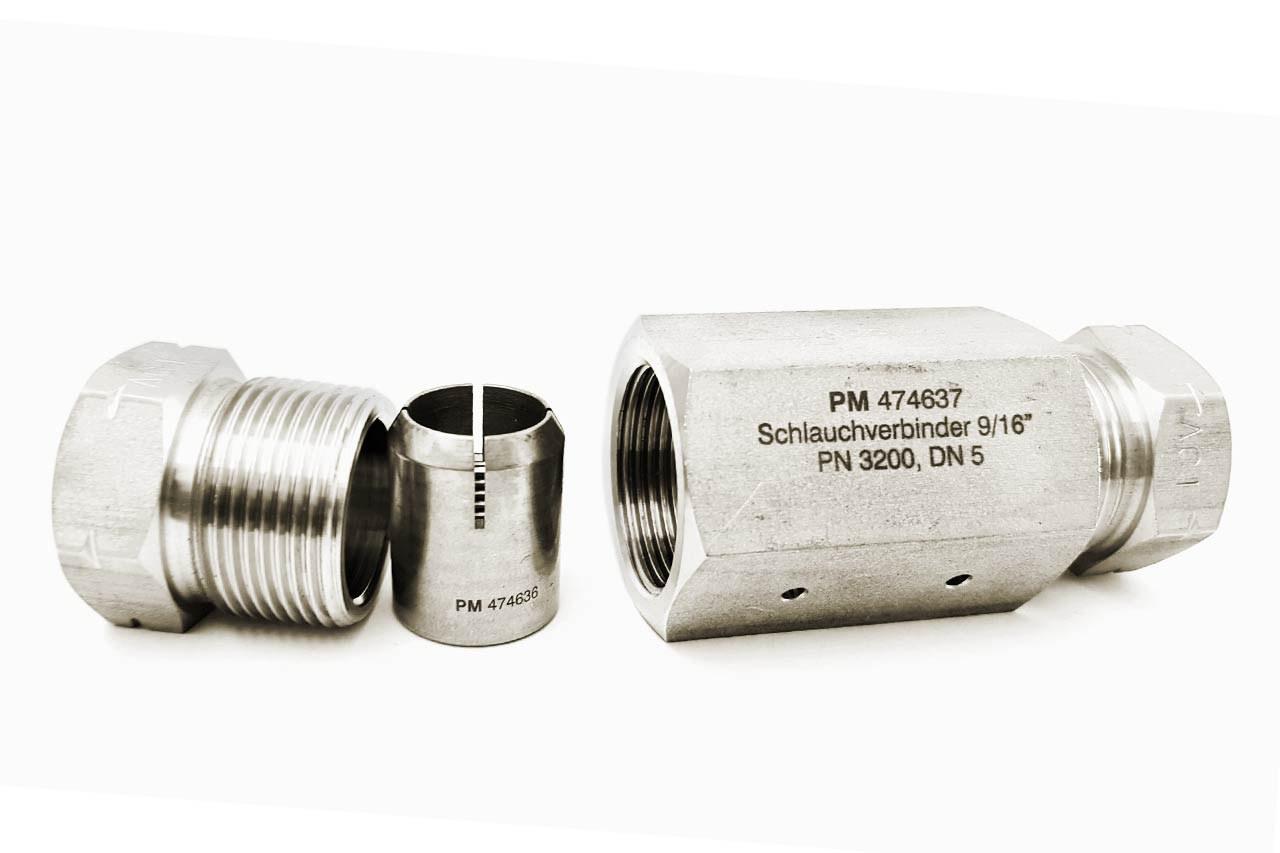 Schlauchverbinder, 9/16Z, PN3200, DN5