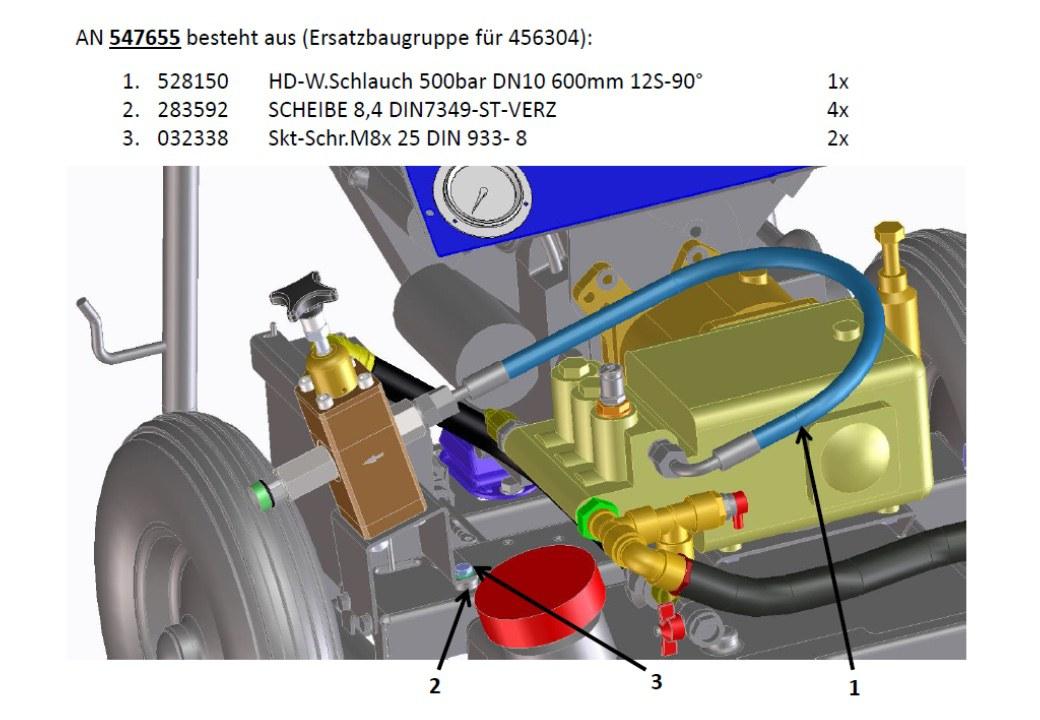 Ersatzbaugruppe HD-Schlauch AN 456304