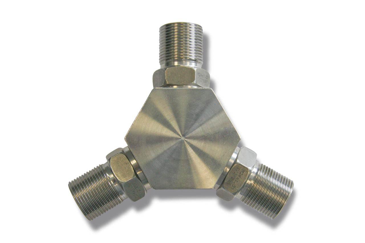 Verteiler kpl. 500bar,  3x M24x1,5 AG
